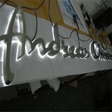 Sign Metal Outdoor Led-Shop-Signs Factory-Outlet Custom Backlit Stainless-Steel Logo