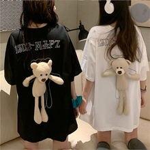 Женская модная повседневная рубашка Студенческая футболка милая
