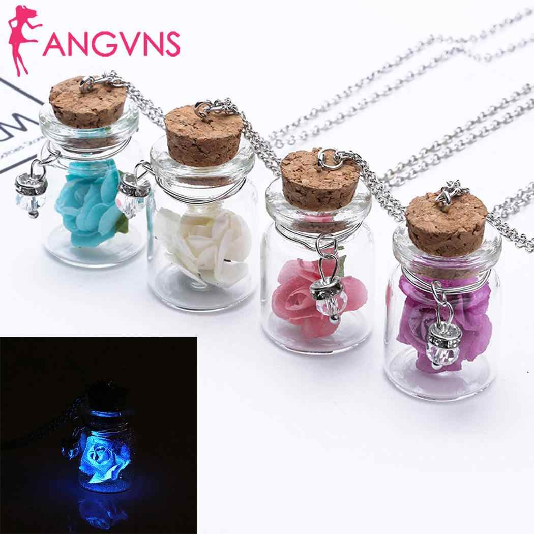 Women Casual Luminous Geometric Shape Link Chain White, Purple, Pink, Blue Pendant Necklaces 56cm/22inch