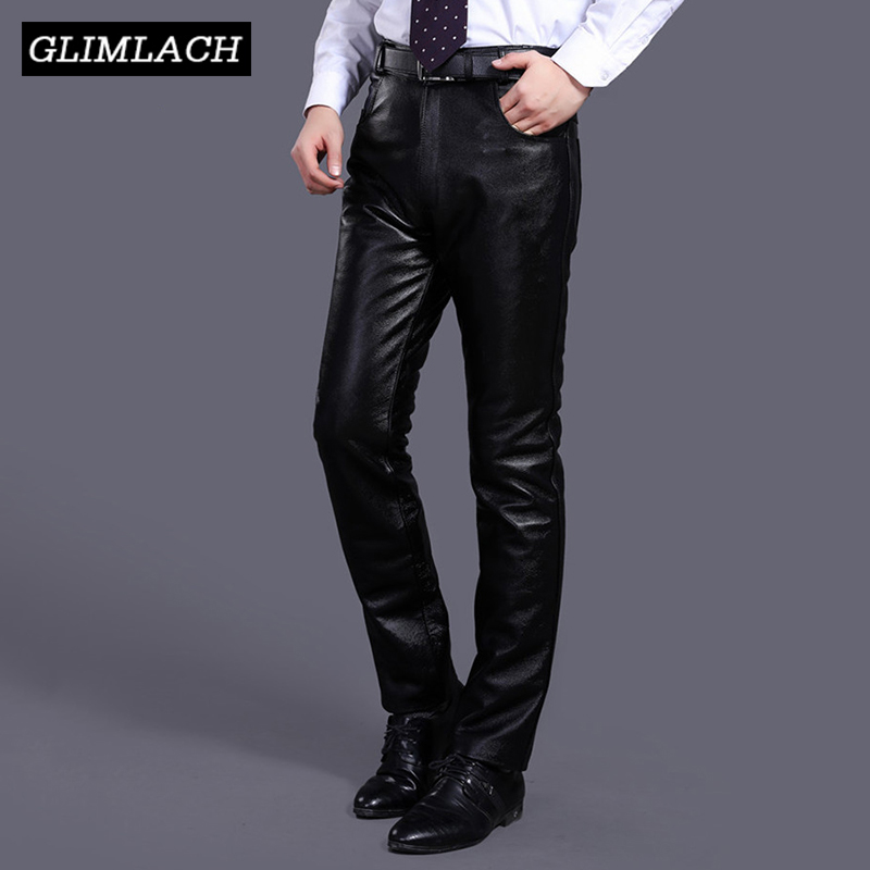 Mens Luxury Cowskin Real Leather Trousers Plus Size Loose Genuine Cow Leather Pants Man Cowhide Motorcycle Biker Riding Pants