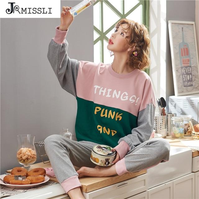 JRMISSLI Mulheres Conjuntos de Pijama Define Sleepwear Outono Manga Longa 100% pijama De Algodão Homewear femme Chegada Nova Ladies pijamas mulheres