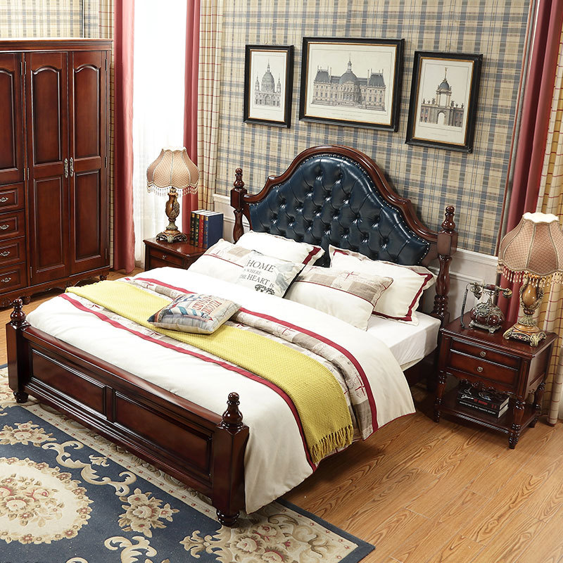 American-Style Village Wood Bed 1.8 M Double Bed Soft Bag Hide Substance Pressure High Bed With Box American-Style Furniture