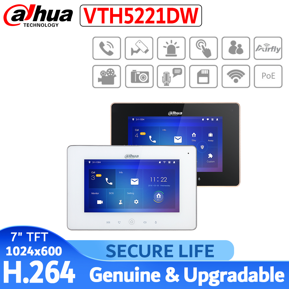 English With Logo VTH5221D VTH5221DW Video Intercom 7 Inches Wi-Fi Indoor Monitor Black&white H.264 Indoor Station
