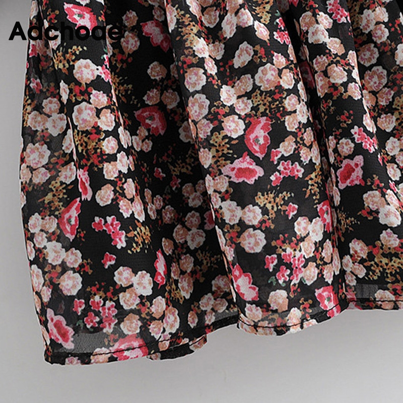 Aachoae Boho Style Floral Print Pleated Dress Long Sleeve Women Mini Dress O Neck Loose Ladies Dresses Beach Sundress Ropa Mujer 5