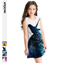 Autumn Winter Girls Dresses Soft Sleeveless A Line Baby Clothing Toddler Digital Printing Kids Dress for 8-11Y Children Costume spring autumn kids girls clothing children clothes a line sleeveless floral printing sundress girl evening party formal dresses