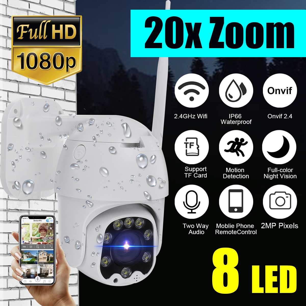 20X Zoom Waterproof WiFi Pan/Tilt 1080P HD IP IR Camera Full Color Night Vision PTZ Surveillance Camera IP Camera