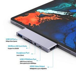 Image 3 - Usb c 허브 어댑터 USB C 유형 c pd 충전 4 k hdmi usb 3.0 3.5mm 헤드폰 2018 ipad 프로 맥북 프로 삼성 s8 s9 s10