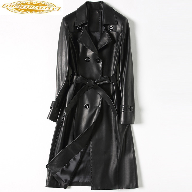 100% Sheepskin Coat Genuine Leather Jacket Women Spring Autumn Long Windbreaker Chaquetas Mujer 2020 HQ18-DHF006 KJ3542