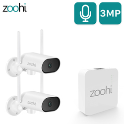 Zoohi 3MP Pan & Tilt Outdoor Sound Record Camera System Security Camera Set Wireless Mini NVR Kit Surveillance Video System