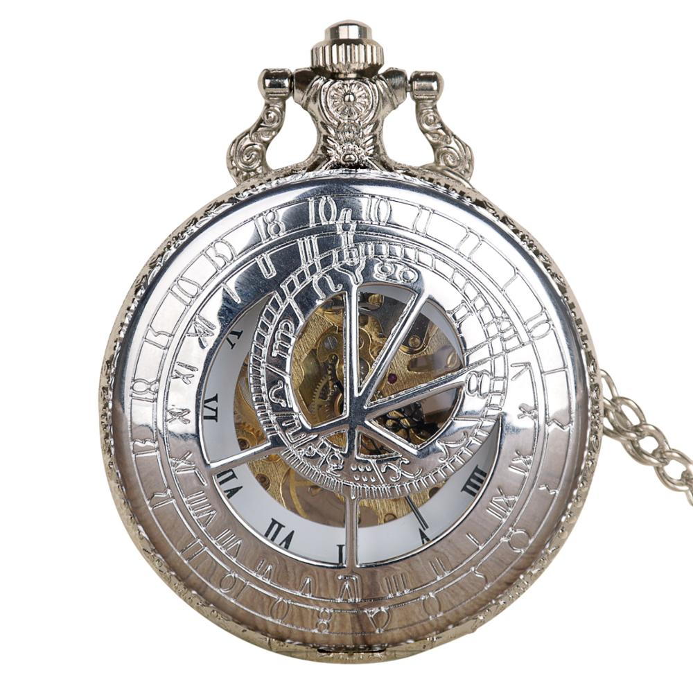 Automatic Mechanical Pocket Watch Antique Vintage Watch Silver Romen Style Unisex With FOB Chain For Men Women Retro Clock