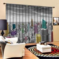 Cinza edifício cortinas blackout luxo 3d janela cortinas para sala de estar quarto tamanho personalizado cortinas