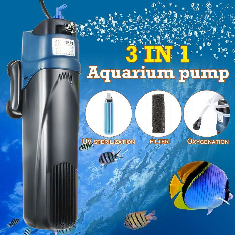 3 In 1 5W Aquarium Filter Pump With UV Lamp UV Sterilizer Lights Fish Tank Submersible Oxygen Water Treatment Purifier