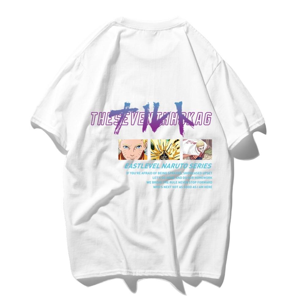 FZ01015 японский Харадзюку стиль оверсайз футболка для мужчин аниме Наруто печати короткий рукав футболки для мальчиков повседневные хлопковые топы - Цвет: Белый