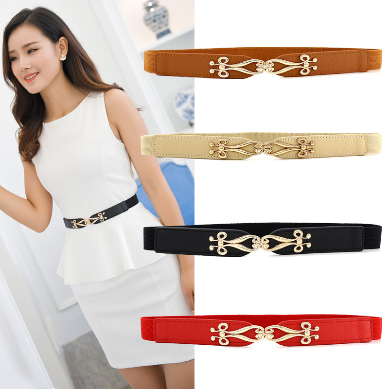 Fashion Thin Belt Gold Buckle Elastic Leather Belts For Women Simple Ladies Cummerbunds Solid Color Waistband Dress Accessories
