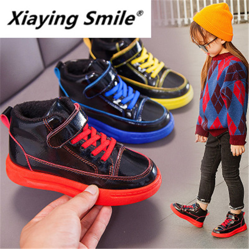 Xiaying Smile Children shoes 19 popular winter girl Plush High Top Sneakers boy casual cotton shoes students' running shoes 8901
