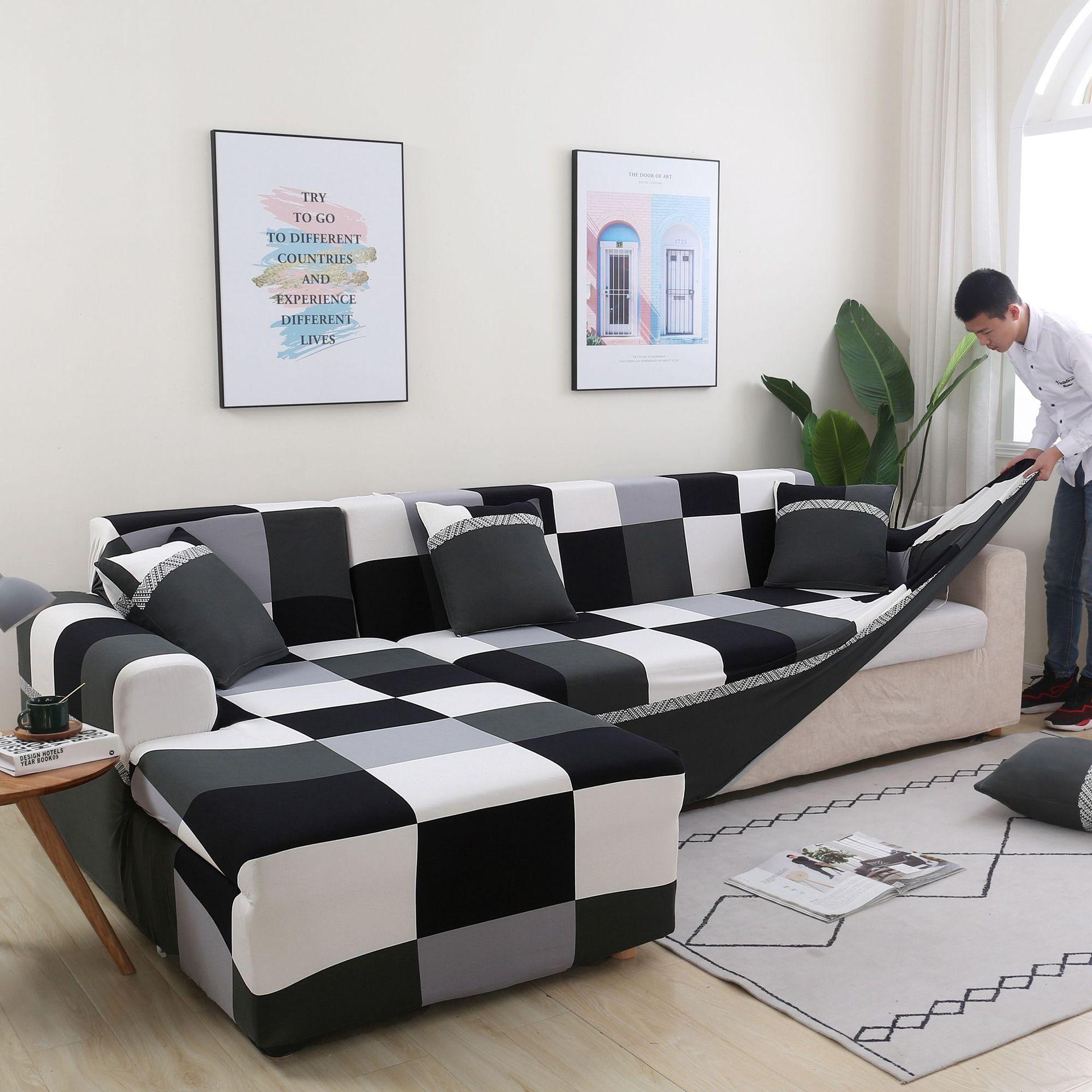 Geometryczna elastyczna narzuta na sofę do salonu nowoczesna segmentowa Sofa narożna narzuta narzuta na sofę ochraniacz na krzesło dekoracje świąteczne Nakrycie na sofę    -