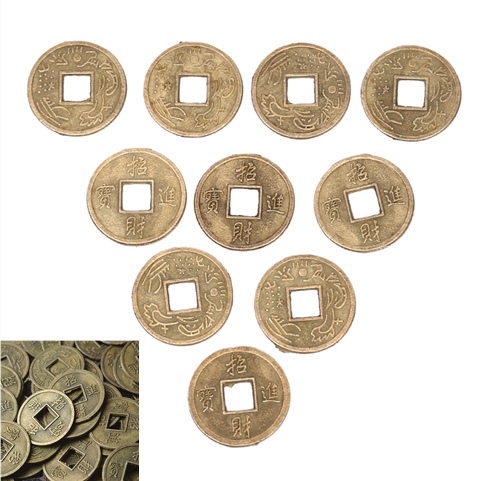100/1Pcs Chinese Feng Shui Lucky Ching/Ancient Coins Set Educational Ten Emperors Antique Fortune Money Coin Luck Fortune Wealth
