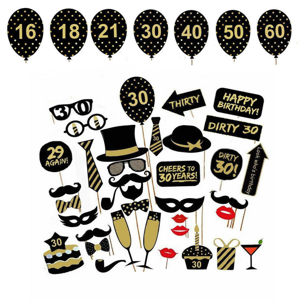 16/18/21st/30/40/50/60th Photobooth Happy Birthday Party Supplies Photo Booth Props Man Woman Birthday Party Decorations