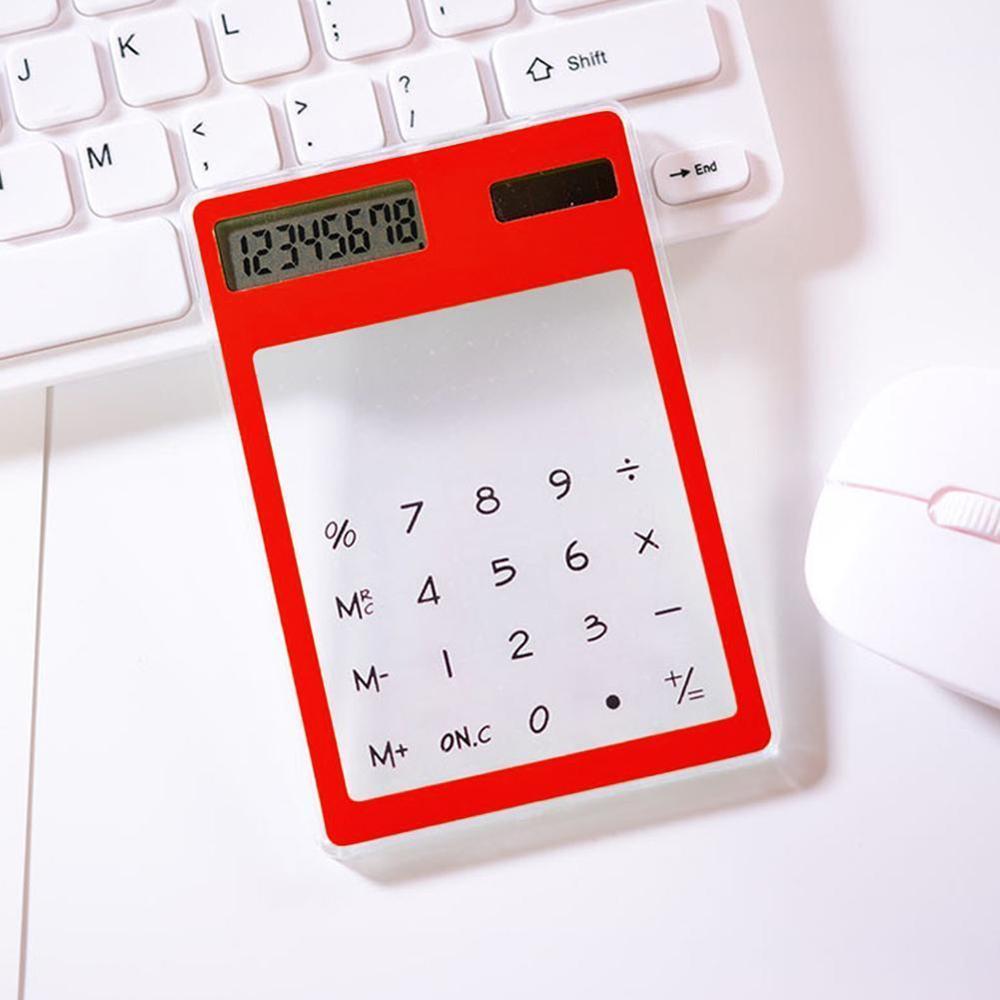 Полезные ЖК-дисплей 8-значный Экран ультра тонкий прозрачный Ясно солнечной CalculatorStationery научный калькулятор для офиса - Цвет: A