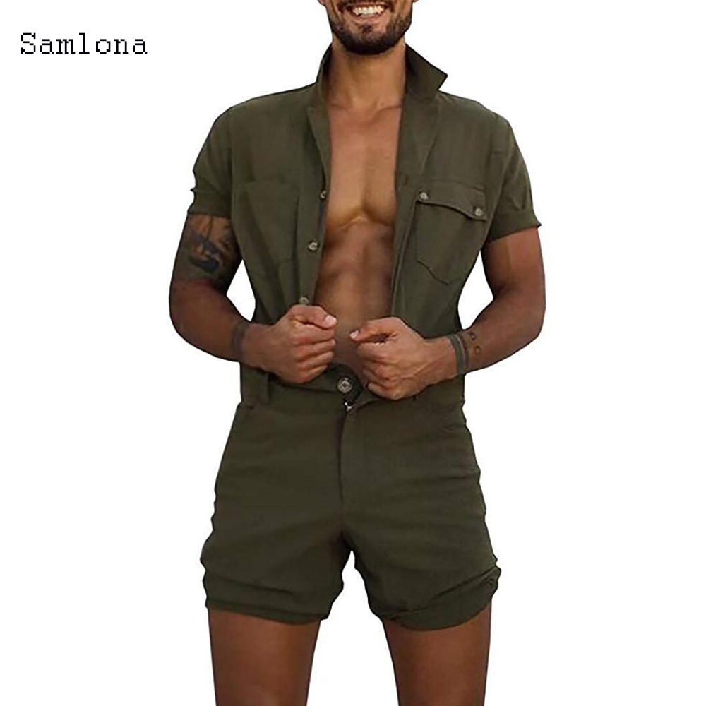 Cotton Jumpsuit Mens Overalls Casual Lapel Short Sleeve Rompers Solid Color Overall Single Breasted Romper Pocket Short Pants