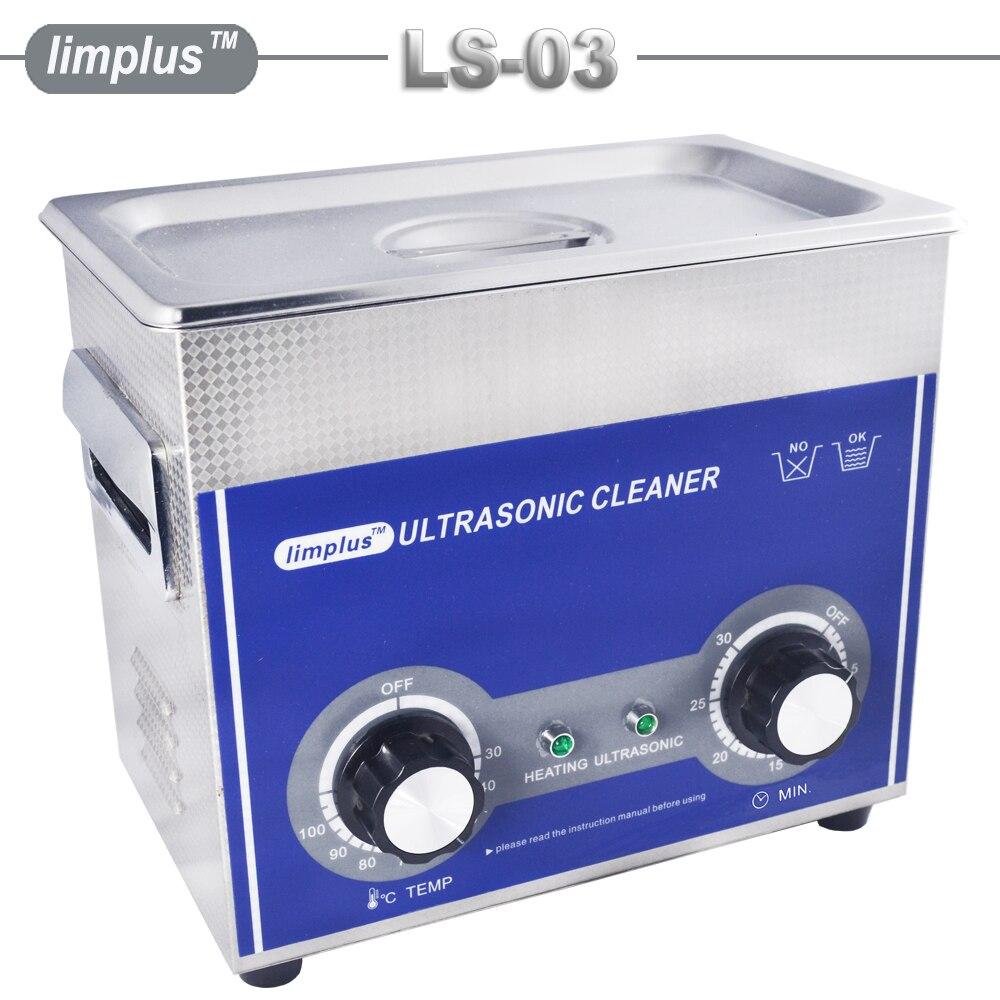 Limplus ultrasónico Cleaner 3L 120W 110/220V solución de limpieza para circuito Borad Metal partes vajilla Hospital