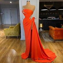 Оранжевые шифоновые вечерние платья 2020 Новое поступление асимметричные сексуальные платья с высоким разрезом и бусинами женские вечерние платья