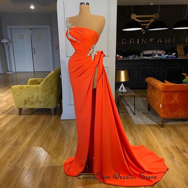 כתום שיפון ערב שמלות 2020 הגעה חדשה כתף אחת סימטרי סקסי גבוהה סדק חרוזים Duba נשים פורמליות ערב שמלות