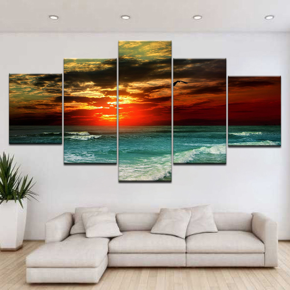 Hot Gifts Sunset Sailboat Canvas Mural Art Wall Frameless Painting Bedroom Decor