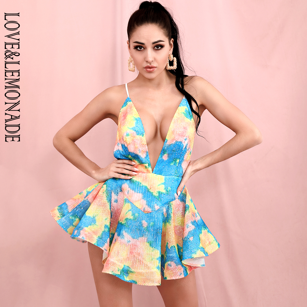 LOVE & LEMONADE Sexy Deep V-Neck Open Back Colorful Sequins Fluffy Mini Party Dress LM82541