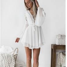 Nouvelles filles blanc été bohème Mini robe femmes mode printemps solide blanc Mini dentelle vêtements décontractés col en v à manches longues robes