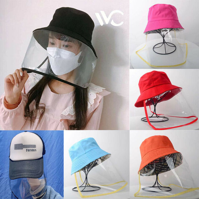 Dual-use Head-mounted Sun Hat Protective Face Shield Cover Hat Anti Spitting Saliva Drool Fisherman Cap with Clear Facial Mask 1