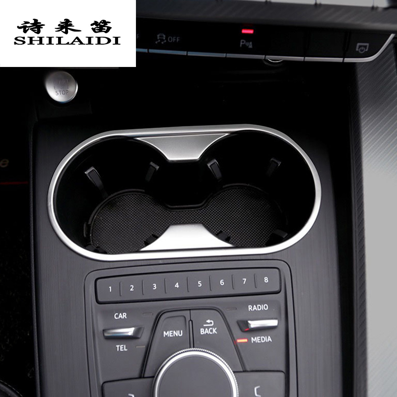 Car Styling Water Cup Holder Gear Shift Panel Multimedia decoration Cover Stickers Trim For Audi A4 B9 Interior Auto Accessories