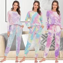 Pijama de otoño e invierno para mujer, ropa de dormir informal con pantalones de manga larga Tie-dye para el hogar