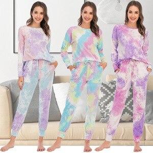 Осенне-зимний Пижамный костюм, брюки с длинным рукавом и галстуком, Повседневная Домашняя одежда, пижамы для женщин, пижамы, женская одежда ...