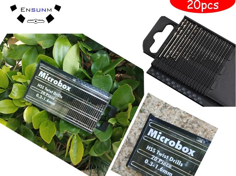 20pcs Precision Mini Micro HSS Twist Drill Bits Woodworking Tools Kit Set Box 0.3mm-1.6mm Tiny Micro Twist Drill Bit