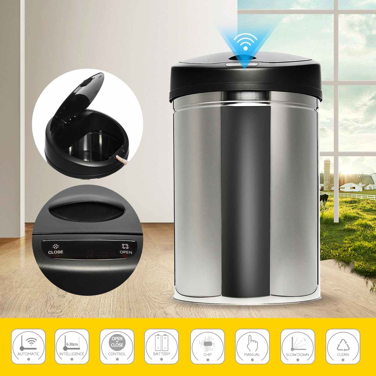 30/40/50/60L Stainless Steel Automatic Electronic Dustbin SensorTact Dustbin Rubbish Waste Bin Kitchen Trash Smart Motion Sensor|Waste Bins| |  - title=