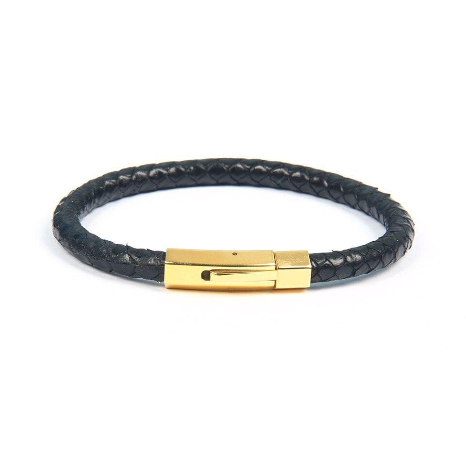 Ailatu New Luxury 6mm Genuine Python Snake Skin Leather Buckle Bracelets Stainless Steel Jewelry