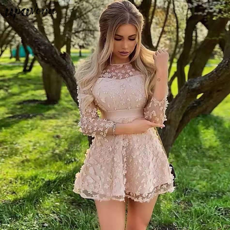 2019 Autumn New Fashion Christmas Women'S Elegant A Word Mini Sexy Long-Sleeved Flower Dress Vestidos Celebrity Banquet  Dress
