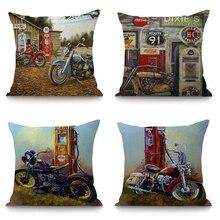 Funda de cojín decorativa clásica para motocicleta para asiento del sofá decoración del hogar funda de almohada Retro para moto 45x45