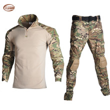 Men Camouflage Military Tactical Uniform Clothes Hunting Clothes Gear Tactical Shirt Army Combat Shirt Cargo Pants Knee Pads hot sale men military alipe mountain meadow terrain camouflage tactical pants trouser army men hunting pants ht136