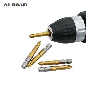 цена на 1 Set(5pcs/10Pcs) Titanium Coated 1/4 Hex Shank PH2 50mm Length Anti Slip Electric Screwdriver Bits With Magnetic Tip