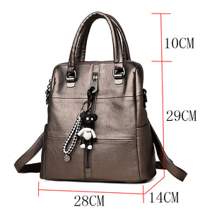 Image 3 - LANYIBAIGE Fashion Women Small Bear Pendant Backpack High Quality Leather Backpacks For Teenage Girls Female School Shoulder Bag