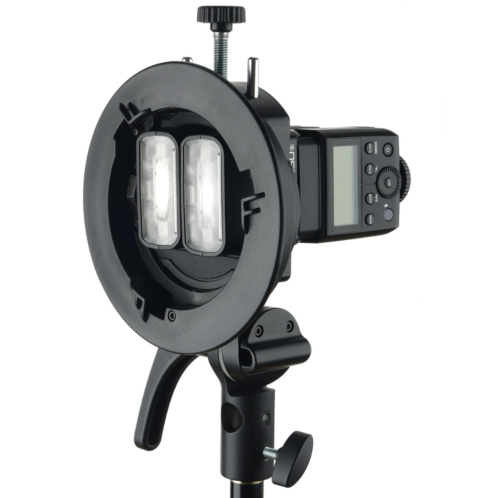 Godox S2 S-Type Flash Holder Bracket Bowens Mount for Godox V1 V860II AD200 AD400PRO TT350 TT685 Speedlite with Snoot+LETWING Color Filter+LETWING Softbox