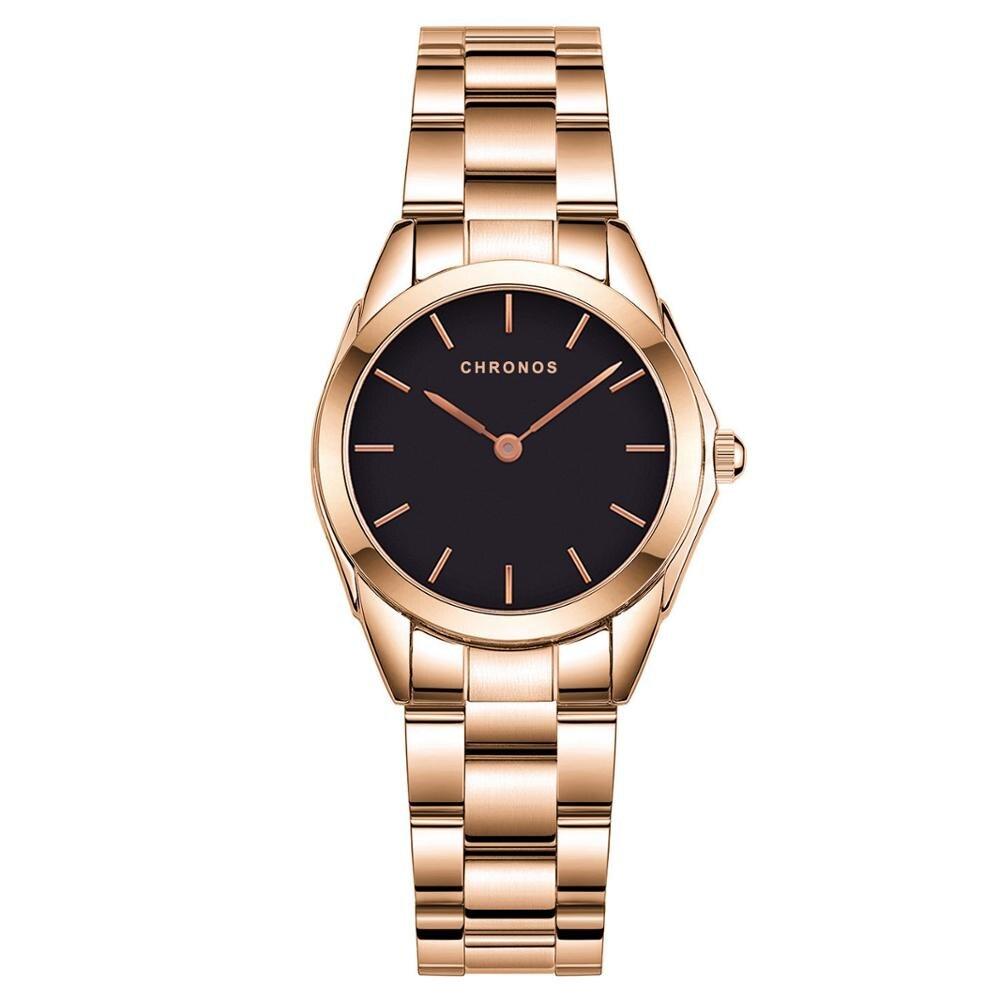 CHRONOS Luxury Brand Fashion Watches Women Stainless Steel Ladies Rhinestone Quartz Watch Women's Wristwatches Relojes Mujeres