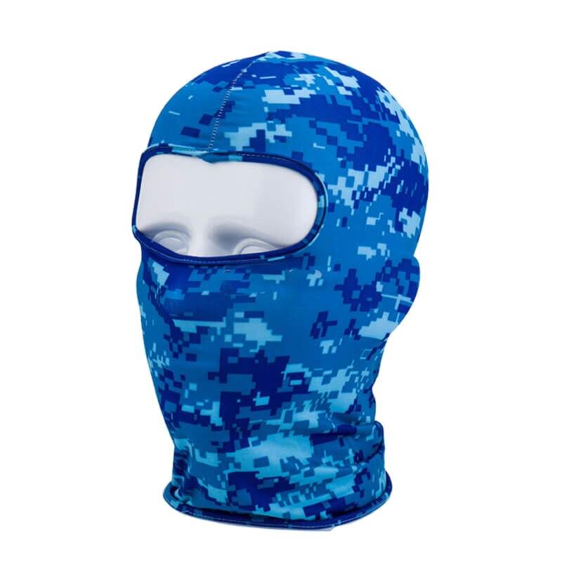 Outdoor Full Face Mask Lycra Balaclava Thin Motorcycle Cycling Ski CS Mask Digital Blue Camo