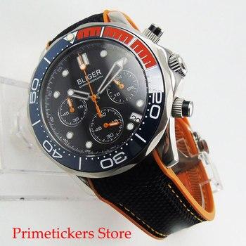 Blue red bezel quartz movement 41mm black dial sapphire glass date chronograph 24 hours rubber strap mens watch фото
