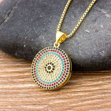 Hot Sale Turkish Round Evil Eye Pendant Necklace Woman Micro Pave CZ Copper Zircon Gold Chain Necklace Best Gift For Female
