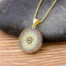 Collar pendiente para mujer, gran oferta, con forma de ojo de malvada redonda turca, Micro pavé de CZ de cobre, cadena de oro de circón, el mejor regalo para mujer