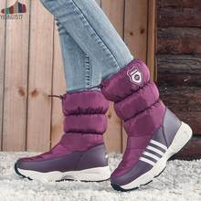 Waterproof Winter Down Boots Female Shoes Mid-Calf Down Boots Women Warm Ladies Snow Bootie Wedge Rubber Plush Botas Mujer(China)