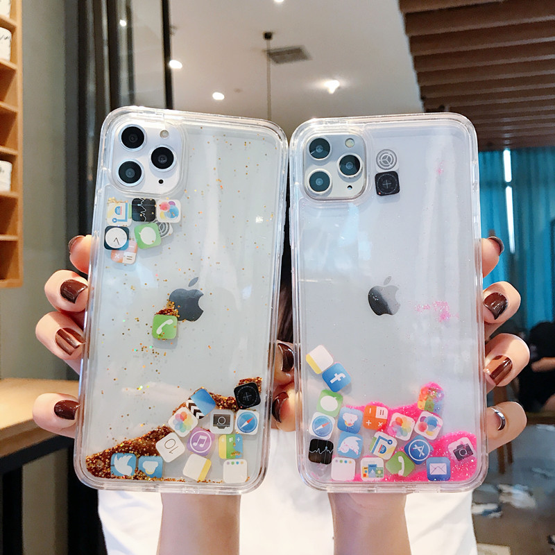 For iPhone 11 Pro MAX Liquid Clear Phone Shell For iPhone 6 6S 7 8 Plus X XS XR MAX Cases Quicksand Cover Cute APP icon Case image